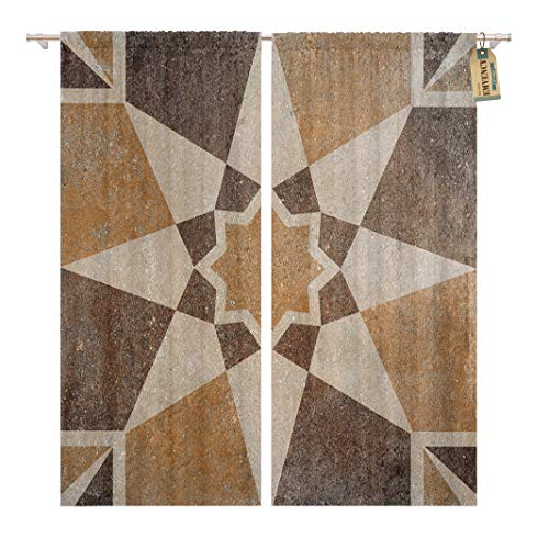Golee Window Curtain Rustic Marble Floor Tiles Pattern Porcelain Wall for Abstract Home Decor Rod Pocket Drapes 2 Panels Curtain 104 x 63 inches ()