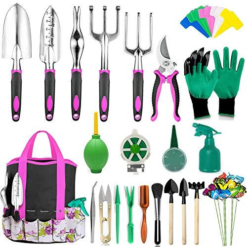 Set herramientas p/ jardineria + bolsa organizadora/ fucsia