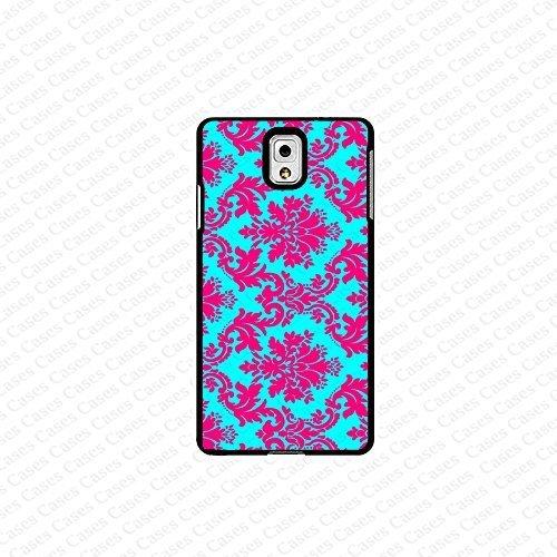 krezy case Galaxy Note 4 case- light blue and pink damask pattern samsung Galaxy Note 4 case- Cute Note Case,...