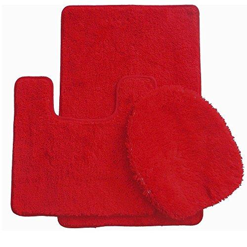 Daniel's Bath & Beyond 3 Piece Solid Luxury Bath Mat, Red