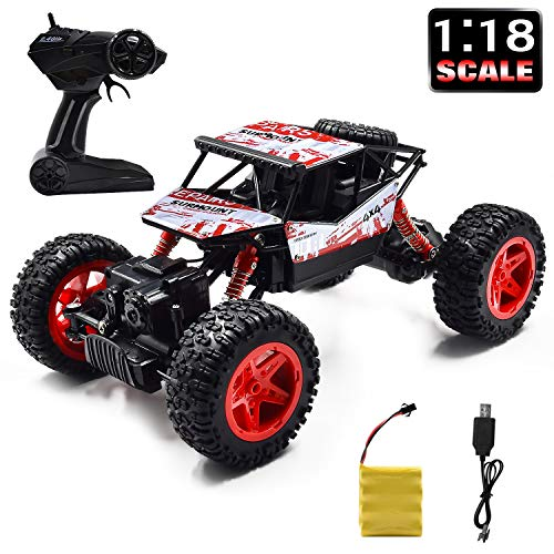 Jeestam RC Car, 2.4GHz Radio Remote Control Car 1:18 Scale 4WD High Speed Off Road RC Trucks Rechargeable Batteries Racing Monster RC Toy Car, for Kids and Adults (Red) (Best 1 18 Rc Truck 2019)