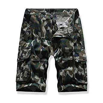 EnergyMen Camo Multi Pockets Standard-fit Casual Twill Cargo Shorts Army Green 29