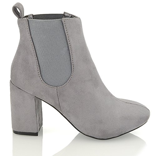 ESSEX GLAM Womens Chelsea Ankle Boots Mid Heel Block Elasticated Pull On Gusset Casual Riding Biker Winter Booties GREY FAUX SUEDE YV8hut4Q6f
