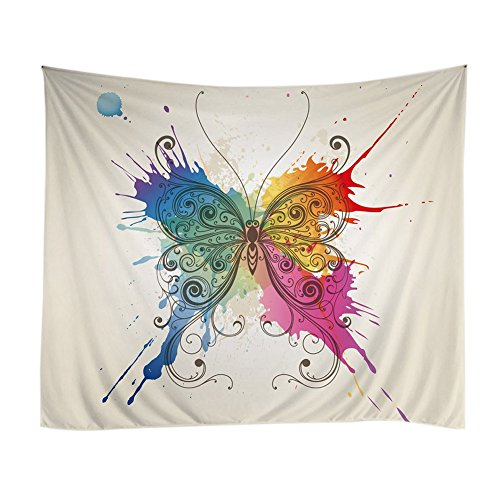 - Messagee Colorful Butterfly Tapestry Wall Hanging Mandala Bohemian Indian Hippie Wall Art