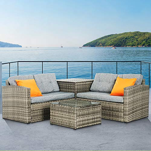 mecor 4PC Patio Furniture Set, Wicker Outdoor Furniture Sectional Cushioned Sofa Set with Glass Coffee Table and Storage Table Garden,Backyard,Lawn Furniture with 2 Pillow (Grey) (Sectionals With Storage)