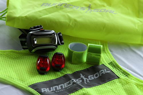 Runner's Goal Running Safety Kit Complete Night Reflective Running Gear Set With Reflective Running Vest, LED Headlamp, Strobe Light Set & Reflective Arm Bands
