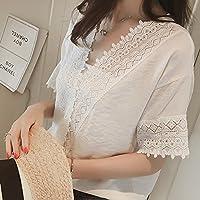Blusa de encaje con cuello en V simple para mujer, blusa de verano Blusas sin mangas sueltas con encaje hueco