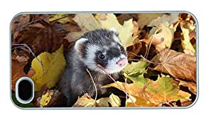 Hipster iPhone 4S case free ferret autumn leaves PC White for Apple iPhone 4/4S