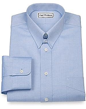 Men's Pinpoint Snap Tab Collar Button Cuff Dress Shirt