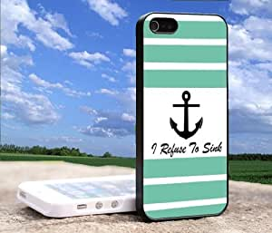 Stripe Turquoise and White Anchor #2 I refuse to sink 4/4s iPhone Case