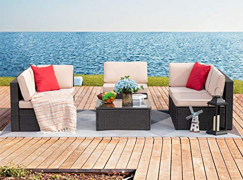 Garden and Outdoor Devoko Patio Furniture Sets 6 Pieces Outdoor Sectional Rattan Sofa Manual Weaving Wicker Patio Conversation Set with… patio furniture sets