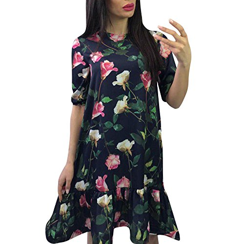 iZHH Womens Dress Sexy Floral Printed Half Sleeved Ruffled Hem Loose Knee-Length Dress ()