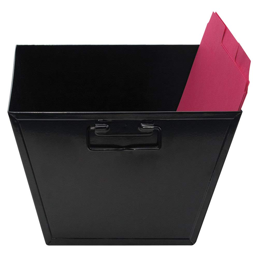TableTop King 63008 12 1/8'' x 11 1/4'' x 7 3/8'' Letter Size Black Steel File and Storage Bin by TableTop King