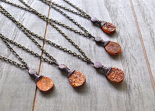 Gold Druzy Quartz Necklace Bronze Wire Wrapped Bronze Celtic Bead Pendant Sparkling Drusy Teardrop Shaped