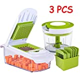 3 Piece Set Vegetable Choppers And Graters, Manual Food Chopper 860Ml Large Capacity, Food Processor Blender with Blade Storage Box