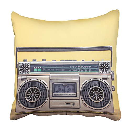 Emvency Decorative Throw Pillow Covers Cases Retro Outdated Portable Stereo Boombox Radio Cassette Recorder from 80S Front Yellow Vintage Old 16x16 inches Pillowcases Case Cover Cushion Two -