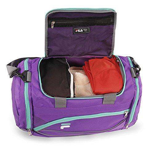 """510JFug4vPL - Fila Sprinter 19"""" Sport Duffel Bag, Purple/Teal - FL-SD-2719-PLTL"""