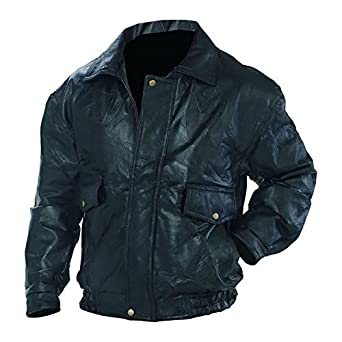 Napoline Roman Rock Design Genuine Leather Bomber Jacket Black at ...