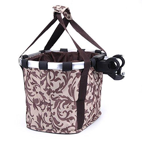 Pet Dog Bike Basket & Carrier Bag- Foldable Detachable Pet Travel Bicycle Basket – Small Animal Dog Cat Rabbit Bike Ride Basket Carrier (Coffee)