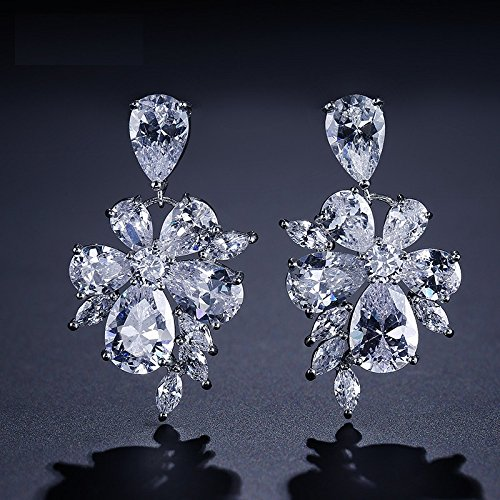 ZAKOL Sliver Color Noble Drop Earrings Exquisite Flower Cubic Zircon Jewelry For Bridal Accessories Wedding FSEP077-in Drop Earrings