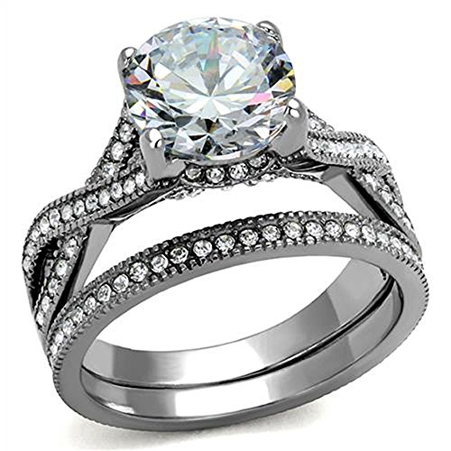 Stainless Steel Cubic Zirconia Round Cut Stunning Women's Wedding Engagement Bridal Ring Set