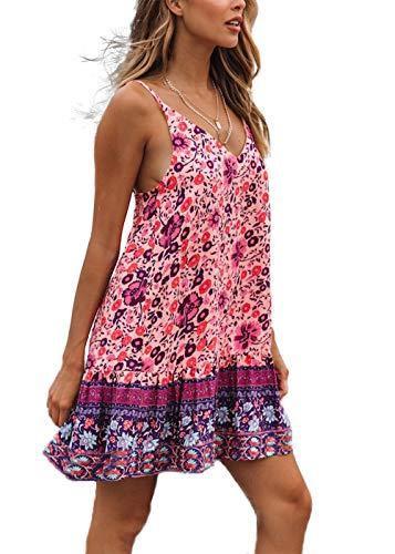 (HZSONNE Women's Sleeveless Floral Print Empire Waist Backless Flowy Boho Mini Tank Dress Strappy A Line Beach Sundresses)