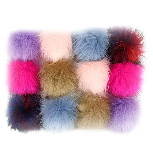 12pcs Faux Fox Fur 3.1inch Pom Pom Ball With Press Button for Knitting Hat DIY Accessories (B)