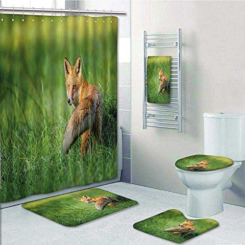 Vanfan Designer Bath Polyester 5 Piece Bathroom SetFox The Red Fox With Fluffy