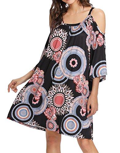 Romwe Women's Summer Cold Shoulder Bohemian Print Loose Tunic Dress Multicolor L