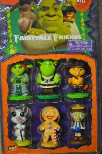 Shrek Fairytale Friends - Shrek, Princess Fiona, Puss In Boots, Blind Mouse, Gingy & Pinocchio 2 figures by Dreamworks Shrek