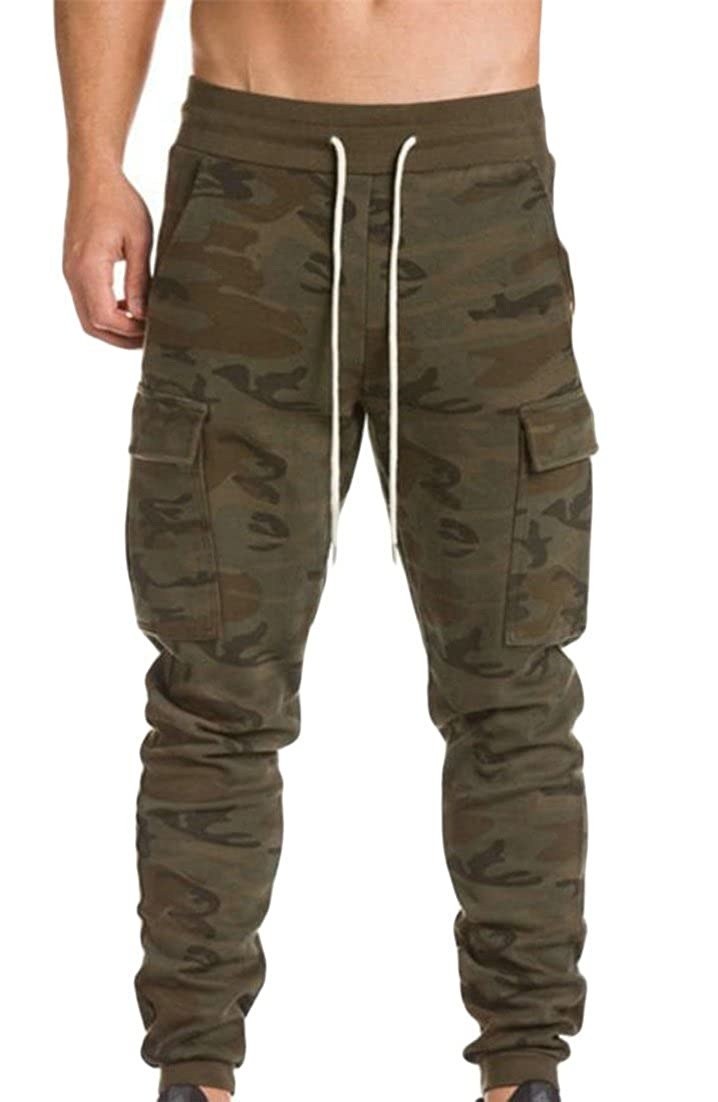 Cromoncent Men Mid Waist Solid Color Elastic Waist Multi Pocket Camouflage Active Leisure Joggers Pants