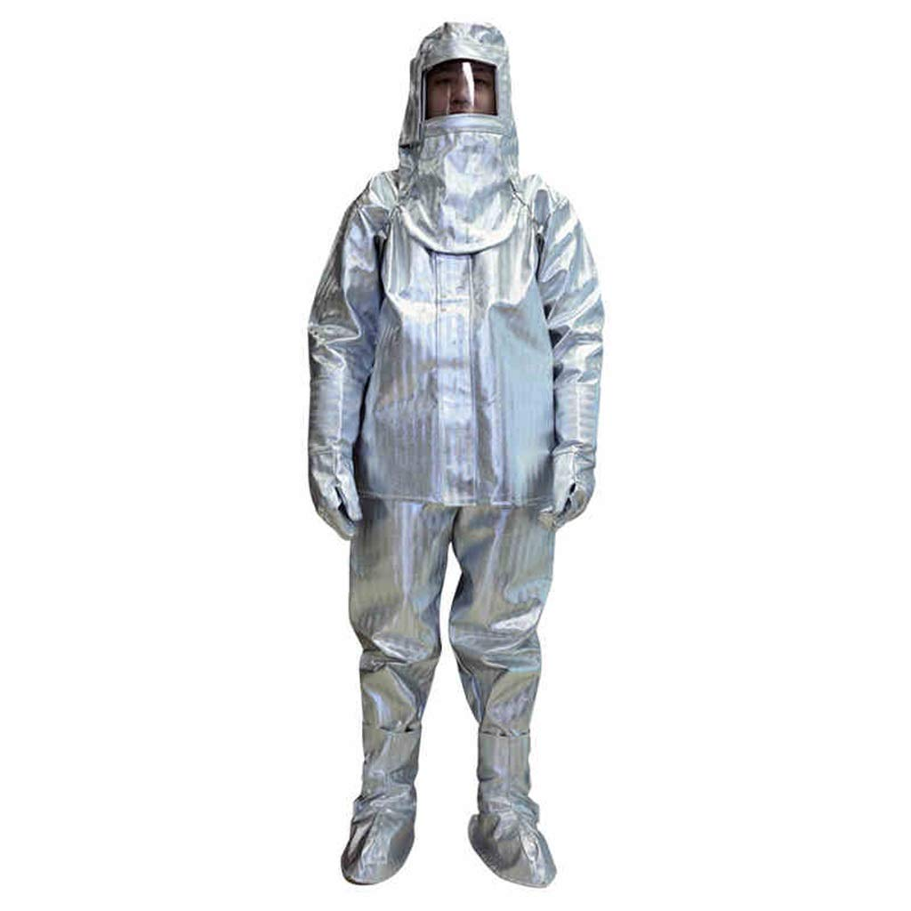 1000° Insulation Suit, Aramid High Temperature Resistant Aluminum Foil Insulation, Flame Retardant and Anti-scalding Overalls, Head to Toe Protection (Size : L) by HZTWS