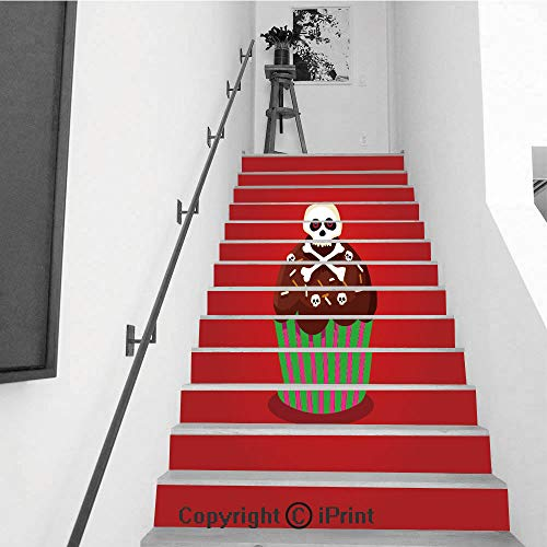 Stair Stickers Wall Stickers,13 PCS Self-Adhesive,Stair Riser Decal for Living Room, Hall, Kids Room,Cute Happy Halloween Cupcake with Skull and Cross Bones Isolated