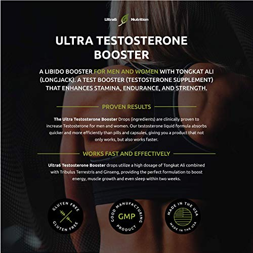 Testosterone Booster Drops. Testosterone Liquid Supplement w/ Tongkat Ali + Tribulus. Testosterone for Men + Women. Enhances Muscle Recovery, Stamina and Endurance. Best Testosterone Booster for Men