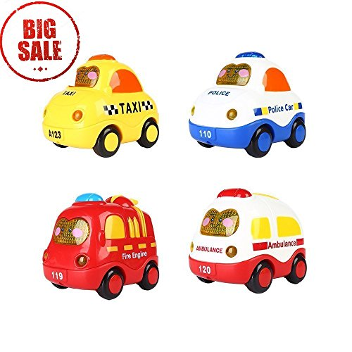 SainSmart Jr. Friction Car Push and Go Car Mini Powered Play Vehicles with Screen Button for Light and Music (Set of 4) Derby Music Box