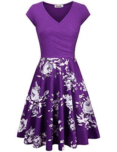 KASCLINO Women Dress Casual, Elegant V Neck Shirred Drape Retro Curve Prom Dress Purple S (Drape Dress Skirt)