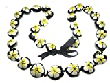 Hawaiian Style Kukui Nut Lei, Hand Painted Yellow and White Hibiscus 32 Inches