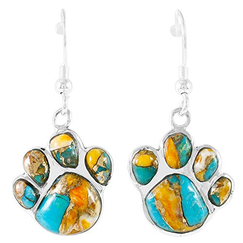Dog Paw Earrings in Sterling Silver Genuine Turquoise & Gemstones (Spiny Turquoise)