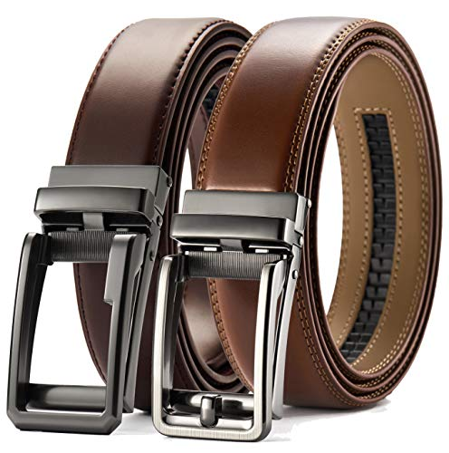 (Ratchet Belt Gift Set, Leather Click Belt Dress with Sliding Buckle 1 3/8
