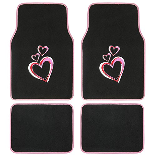 (BDK MT453 Love Story Pink Carpet Car Floor Mats - 4 Pieces Front & Rear Full Set with Rubber Backing - Universal Fit)