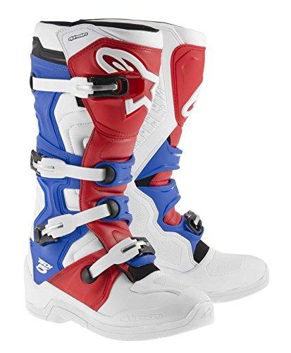 (Alpinestars Tech 5 MX Boots Adult Motocross Sole White/Red/Blue - 10)