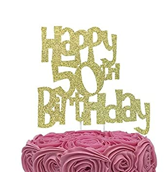LissieLou Happy 50th Birthday Cake Topper Glitter Gold