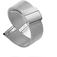 18mm Mesh Milanese Strap Stainless Steel Solid Watch Band Replacement 0.6 Interlock Safety Clasp Silver Band for Men and Women LeapTop
