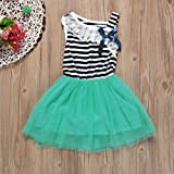 Hot Baby Dress! AMA(TM) Toddler Kids Baby Girls Striped Sleeveless Bowknot Tulle Tutu Princess Party Dress (2T, Green)