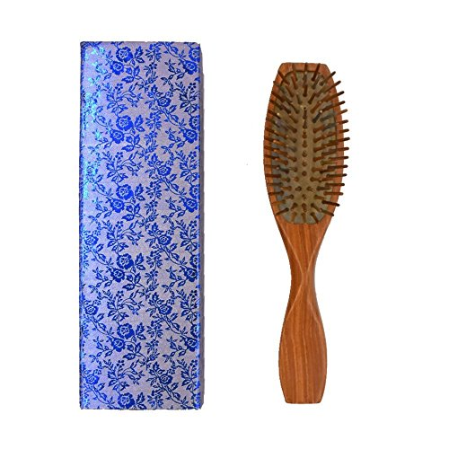 Price comparison product image Behomy Wooden Hair Brush, Natural Green Sandalwood Scalp Massage Hair Comb for Straight and Curly Hair, Detangling Wooden Bristle Cushion Hair Brush with Storage Box