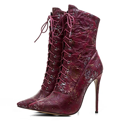 Lace Rose Red Ladies Boots Heels Flower Women's High Pointy Ankle up Booties Toe Dress VOCOSI Print gHIZ6xqw