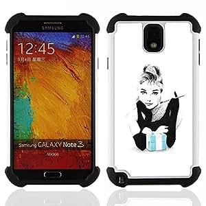 """SAMSUNG Galaxy Note 3 III / N9000 / N9005 - 3 en 1 impreso colorido de Altas Prestaciones PC Funda chaqueta Negro cubierta gel silicona suave (Fumar Mujer Movie Star Actriz"""")"""