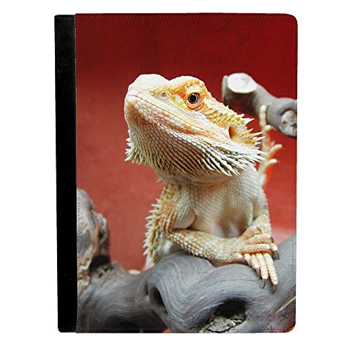 Image Of Bearded Dragon Lizard on Gray Colored Wood Red B...