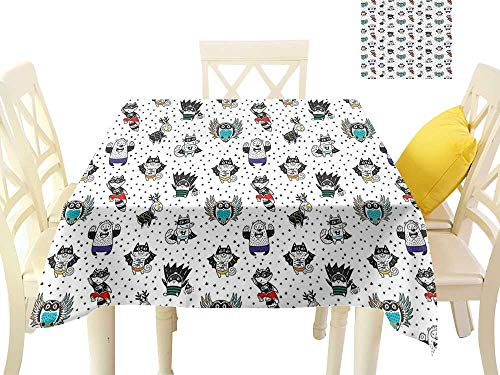 cobeDecor Elegant Waterproof Spillproof Polyester Fabric Table Cover Animal Owl Dear Fox Cat Penguin Raccoon Bear in Superhero Costumes Print W63 x L63, Indoor Outdoor Camping Picnic