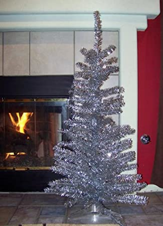 Vintage Artificial Christmas Trees.Amazon Com Silver Vintage Style Tinsel Aluminum 4